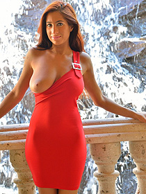 Busty Stacy In Red Dress